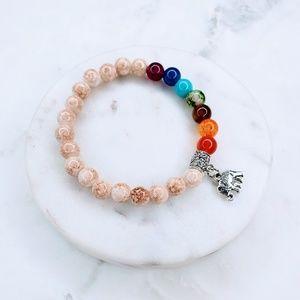 Jewelry - 5 for $25 Cream Bead 7 Chakra Elephant Bracelet